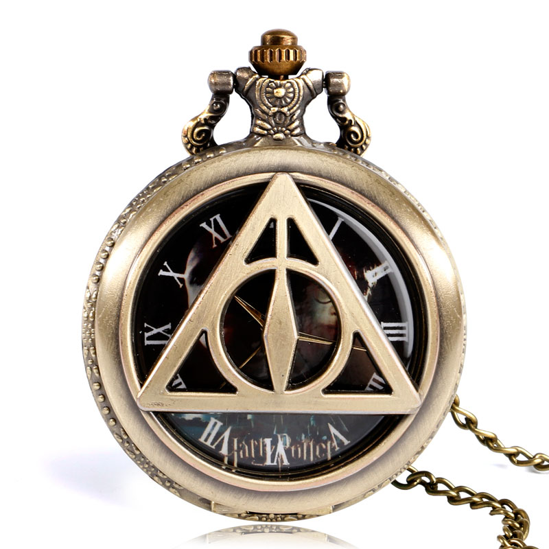 Hot Half Hunter Deathly Hallows Quartz Pocket Watch Bronze Vintage Fob Clock With Necklace For Men Women