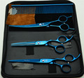 4Pcs Suit 7'' 19.5cm Blue Color Professional Hair Hairdressing Scissors Comb+ Cutting Shears + Thinning +UP Curved Shears Z3002L