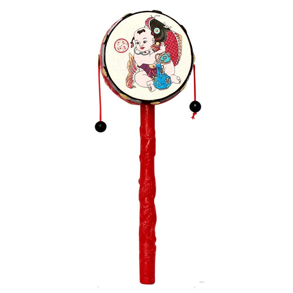 Chinesischen Traditionellen Spin Spielzeug Rassel Trommel Kinder Cartoon Hand Glocke Kunststoff Für Baby Trommel Schütteln Rassel Hand Glocke Spielzeug