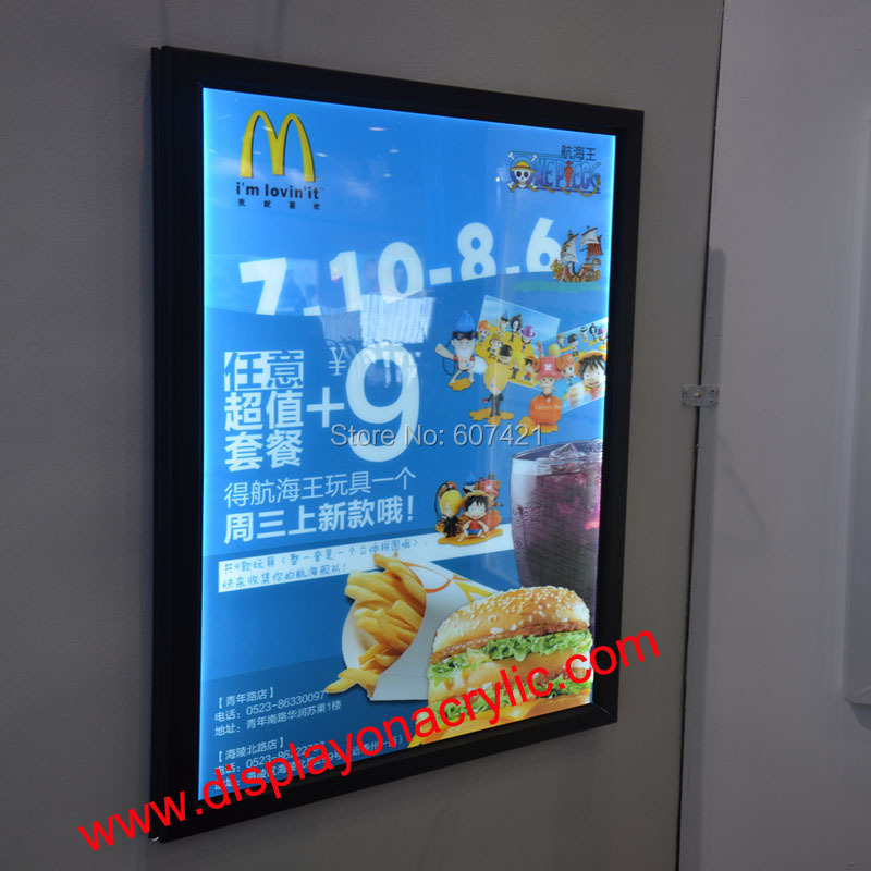 ФОТО  A3 Aluminum Snap Frame LED Light Boxes For Hotel,Restaurant,Museum,Theather etc (Black as default)