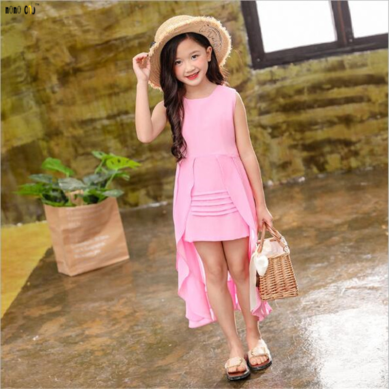 Image 4 - Big Girls Chiffon Dress 2018 Summer Sleeveless Irregular Elegant Princess Party Dresses 5 6 7 8 9 10 11 12 Years Kids Clothes-in Dresses from Mother & Kids