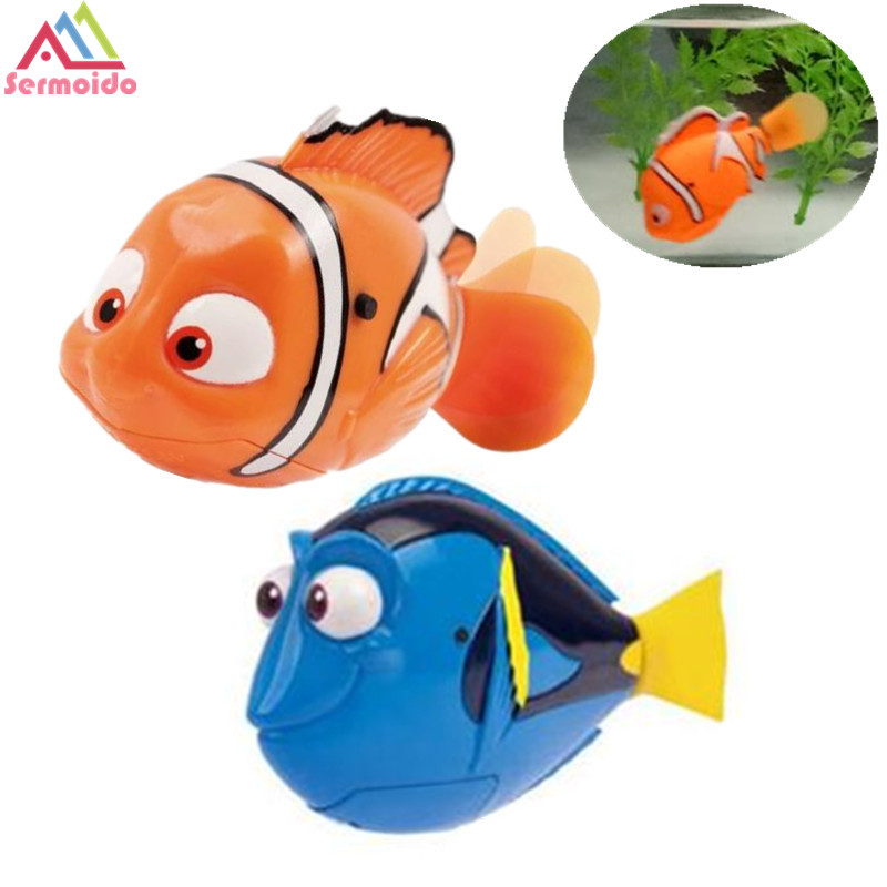 SERMOIDO Robot Small Dory Nemo Fish Tail Swimming Dolls Colorful Wig Mermaid Robofish Child Electronic Pet Toys A133 недорго, оригинальная цена