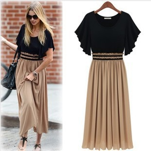 Las mujeres vestido de verano 2020 Europa nueva de las mujeres vestido de verano Code Fat cintura de gasa Vestidos de ropa de las mujeres WJ187 Vestidos