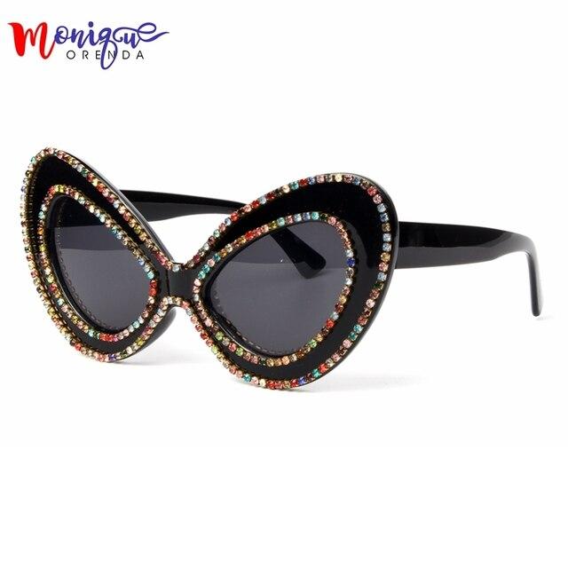 2018 óculos de sol das mulheres designer de marca Borboleta Grande Armação  de Strass óculos de 4742addfba