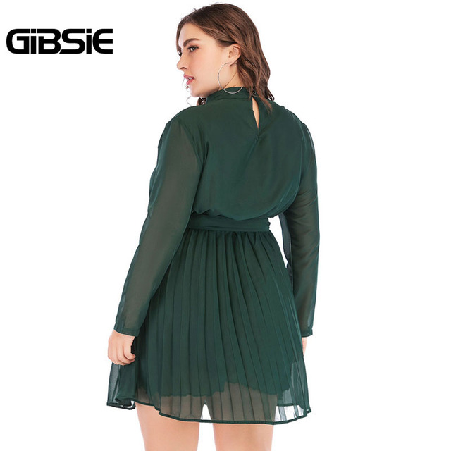 GIBSIE 5XL 4XL Plus Size Women Elegant Office Lady Spring Dress 2019 Solid Stand Collar Long Sleeve Chiffon Pleated Mini Dress 2