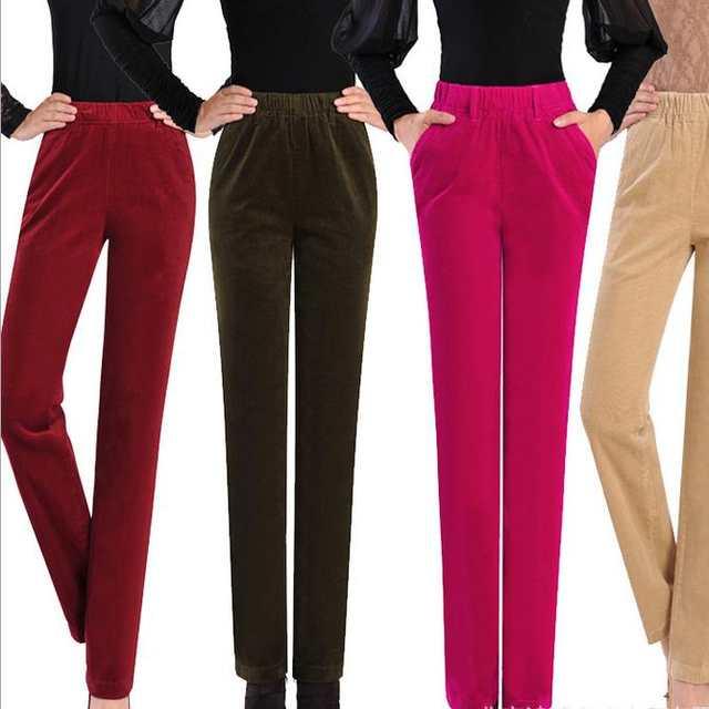 60e8d6854 placeholder Das mulheres de outono Inverno calças de veludo cotelê cintura  reta plus size feminina 7xl calças