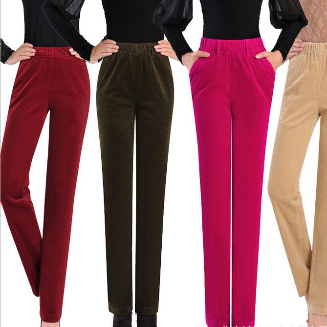 Women S Autumn Winter Corduroy Trousers Waist Straight Female Plus Size 7xl Thin Corduroy Pants Casual Pants In Pants Capris From Women S Clothing Accessories