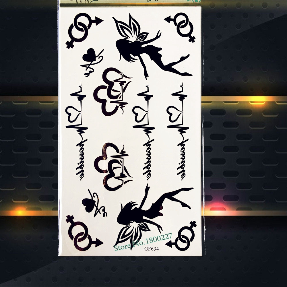 Henna Body Art Painting Tattoo Stickers ECG Temporary Tattoo Angel Fariy Designs PGF634 Child Fake Flash Removable Tattoo Black