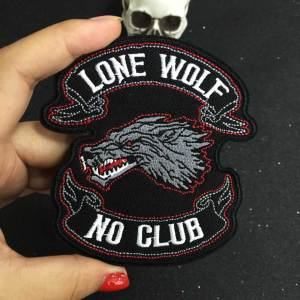 LONE WOLF NO CLUB biker patch for Jacket backing, punk motorcycle embroidery skeleton biker badge, skull patch Garment Accessory(China)