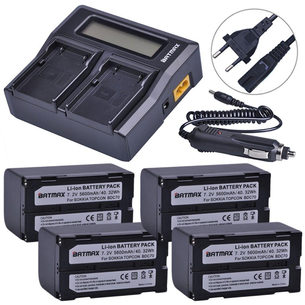 4 pz 5600 mah BDC70 Li-Ion Batteria + LCD Rapido Caricatore Doppio per sokkia CX FX stazione totale topcon ES OS stazione totale