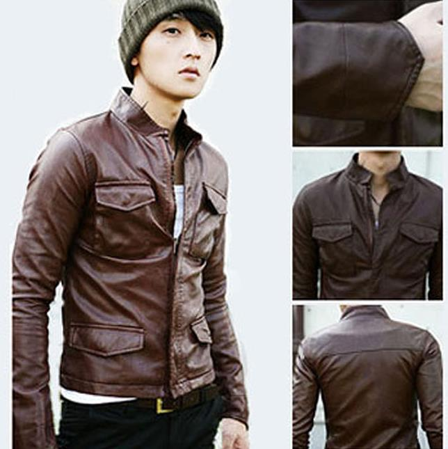 Brown Faux Leather Jacket Mens | Outdoor Jacket