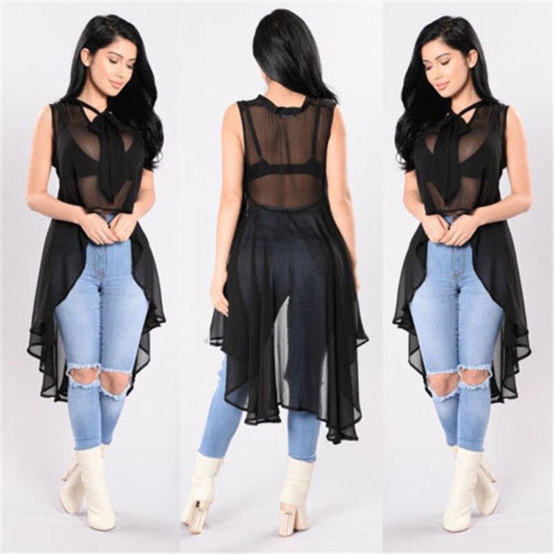 Sexy Summer Women's See through Tops   Shirt   Solid Black Burgundy Bowknot Mesh Sheer Sleeveless Irregular   Blouse  &  Shirts
