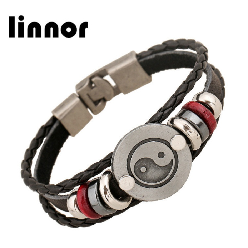 Linnor Taiji Yin and Yang Gossip Bracelet Homme Statement Leather Beaded Cuff Bracelets Bangle for Women Men Braslet