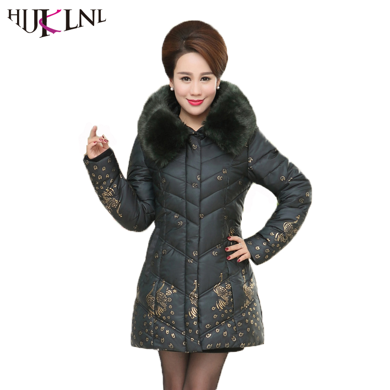 HIJKLNL Mom Winter Thick Jacket Plus Size 5xl Middle-aged Women Warm Long Jacket Coat Fur Collar Parka Padded Abrigo mujer NA227 winter women medium long middle aged fur collar hooded parkas thick warm plus size coat cotton padded chaquetas mujer tt3058