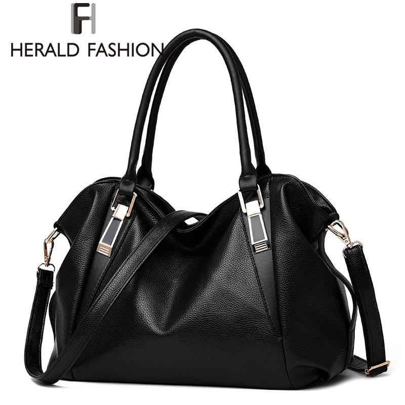 Prix pour Herald Mode Designer Femmes Sac À Main Femme PU Sacs En Cuir Sacs À Main Dames Épaule Portable Sac Bureau Dames Hobos Sac Totes