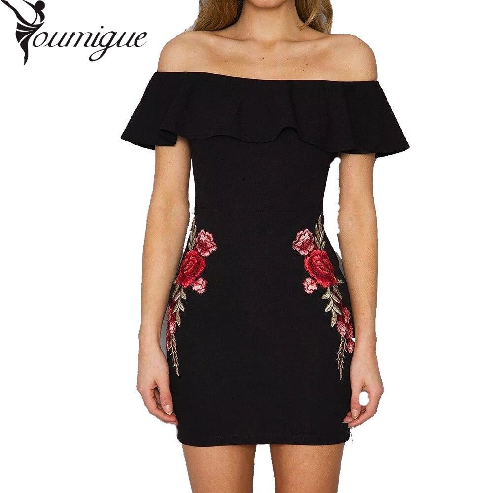 YOUMIGUE Off shoulder floral summer font b dress b font Vintage high waist slash font b