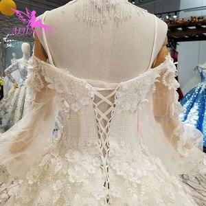 Image 4 - AIJINGYU Vegas Weddings Gray Gowns Muslim 2 In 1 White Informal Arabic Dreess Vintage Lace