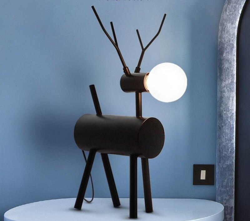 Nordic Moderne Gecontracteerde Slaapkamer Studie Bedlampje Zwart Ijzer Herten Lamp Persoonlijkheid Creatieve Decoratieve Tafellamp Online Korting
