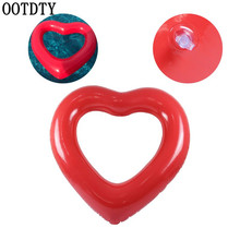 OOTDTY Inflatable Swim Ring Red Heart-Shape Floating Tools Swimming Pool Life Buoy
