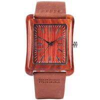 Casual Creative Genuine Leather Band Strap Rectangle Dial Bamboo Men Women Wrist Watch Gift Unique Nature