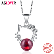 925 Sterling Silver Pendant Necklace Simple Cute Cat Red Crystal Box Chain Women Jewelry