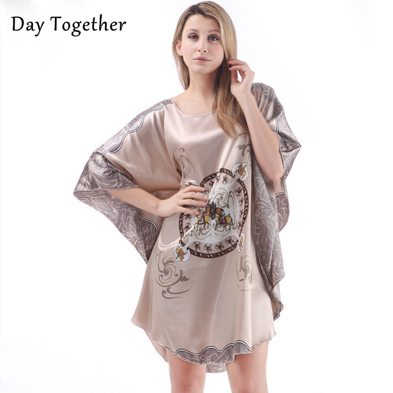 Summer Sexy Floral Bathrobe Satin Silk   Nightgown     Sleepshirts   Plus Size Women Sleepwear Short Sleeve Nightwear Dresses