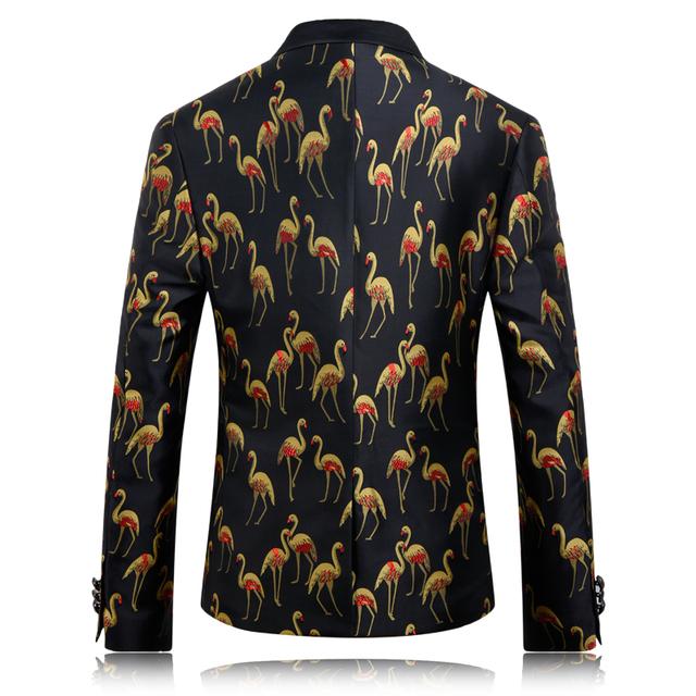 Mens 3D Print Blazer Latest Coat Design Fashion Crane Printed Balzer Men Slim Fit Stage Jacket Wedding Dress 2016 Prom Suit Q216