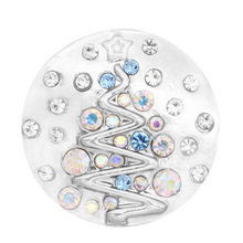 10pcs/lot Christmas tree crystal 18mm 20mm Snap jewelry For Women 2018 fashion Jewelry fit snap Bracelets for women gifts