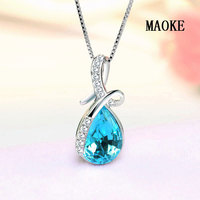 Promotional S925 Sterling Silver Lovers Angel Tear Necklace Austria Crystal Pendant Fashion Jewelry for Women's Fashion Gifts