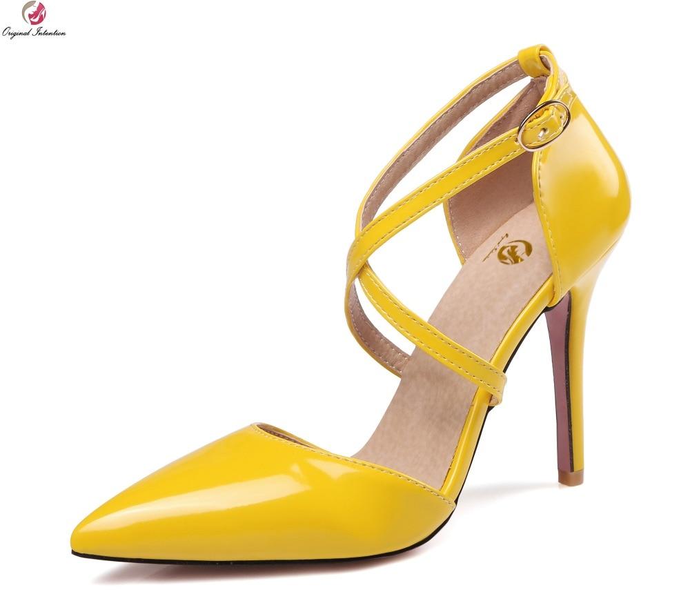 Original Intention Women Sandals Fashion Pointed Toe Thin Heels Sandals Black White -2932