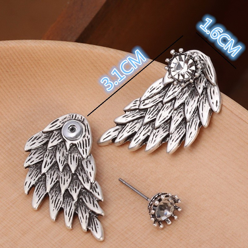 Black Gold Silver Plated Gothic Angel Wings Rhinestone Alloy Stud Earrings 1