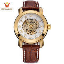 Top Brand Luxury Fashion Casual Stainless Steel Men Mechanical Watch Skeleton Automatic Watch For Men Dress Wristwatch OUYAWEI