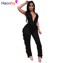 Sheer Mesh Beaded Sexy Jumpsuits For Women Deep V Neck Double Side Ruffles Party Bodysuit Summer Backless See Through Overalls