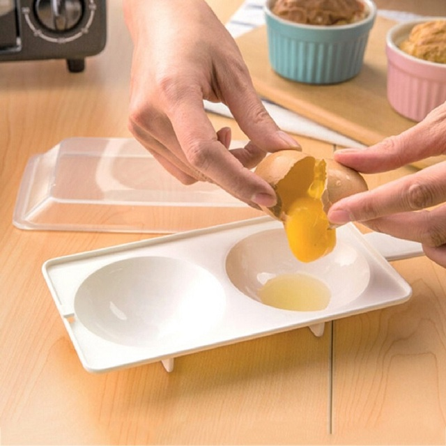 1pcs Two Egg Poacher Sandwich Breakfast Plastic Material Tools Put Microwave Oven Kitchen Cooking Accessories