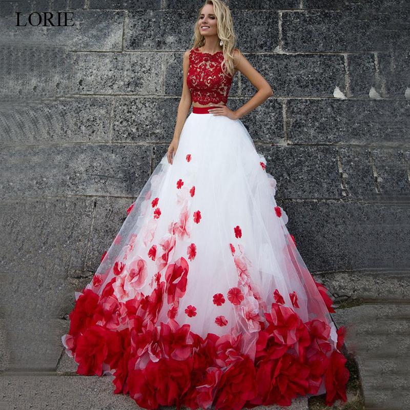 Anime Ball Gown White With Red Roses: Aliexpress.com : Buy LORIE White And Red Wedding Dress