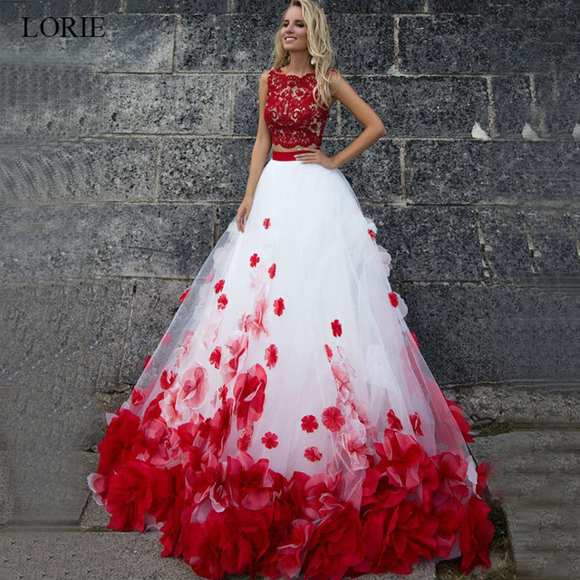Rode Trouwjurk.Lorie Wit En Rode Trouwjurk Genaaid Met Bloemen Baljurk Lace Up