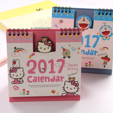 2017 Hello Kitty Minions Baymax Panda Totoro Cute Cartoon Office Planner Standing Print Desk Table Calendar For 2017 Agenda(China (Mainland))
