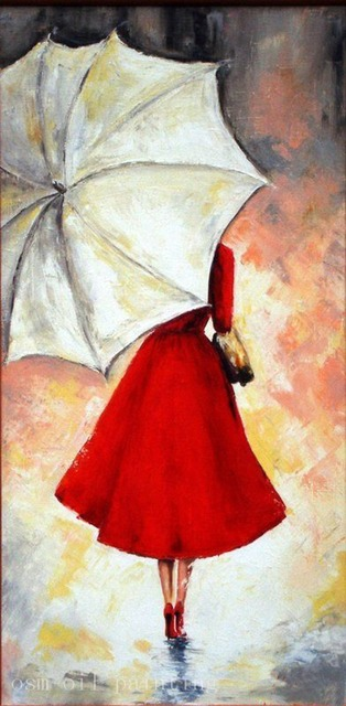 Hand painted abstract wall art decor lady in red portrait for Painting red umbrella