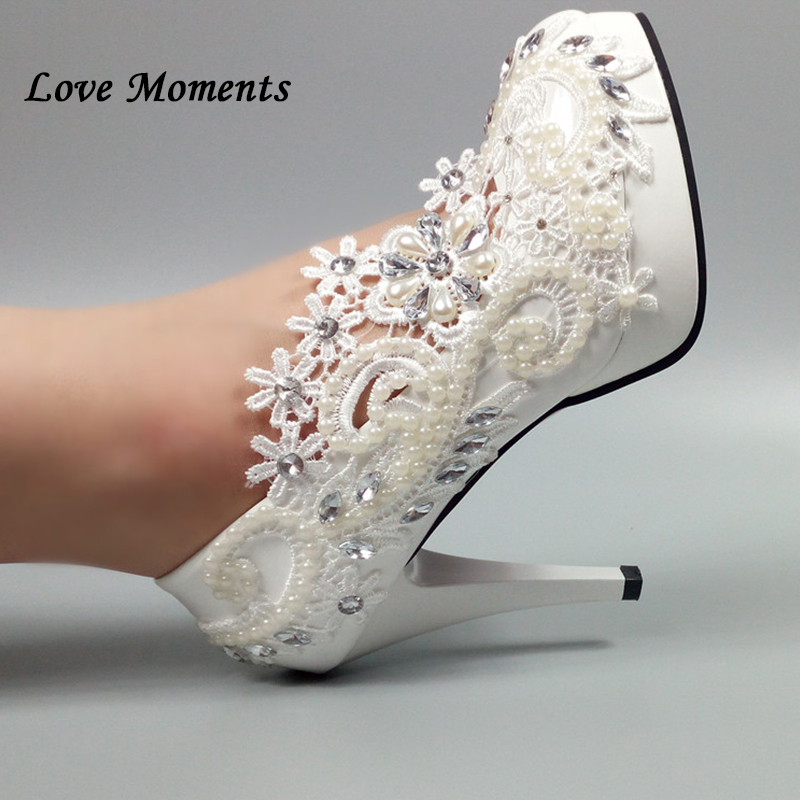 Love Moments New arrival white lace Handmade Bridal shoes women Pumps heel shoes woman White flower