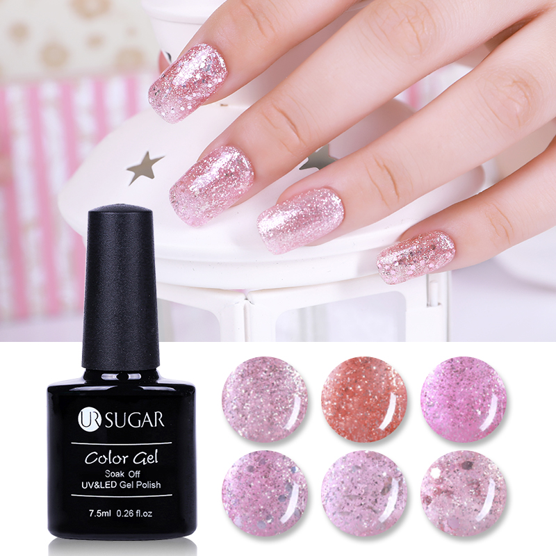 UR SUGAR Luminous Rose Gold Nail Gel Shine Glitter Glow in Dark - فن الأظافر