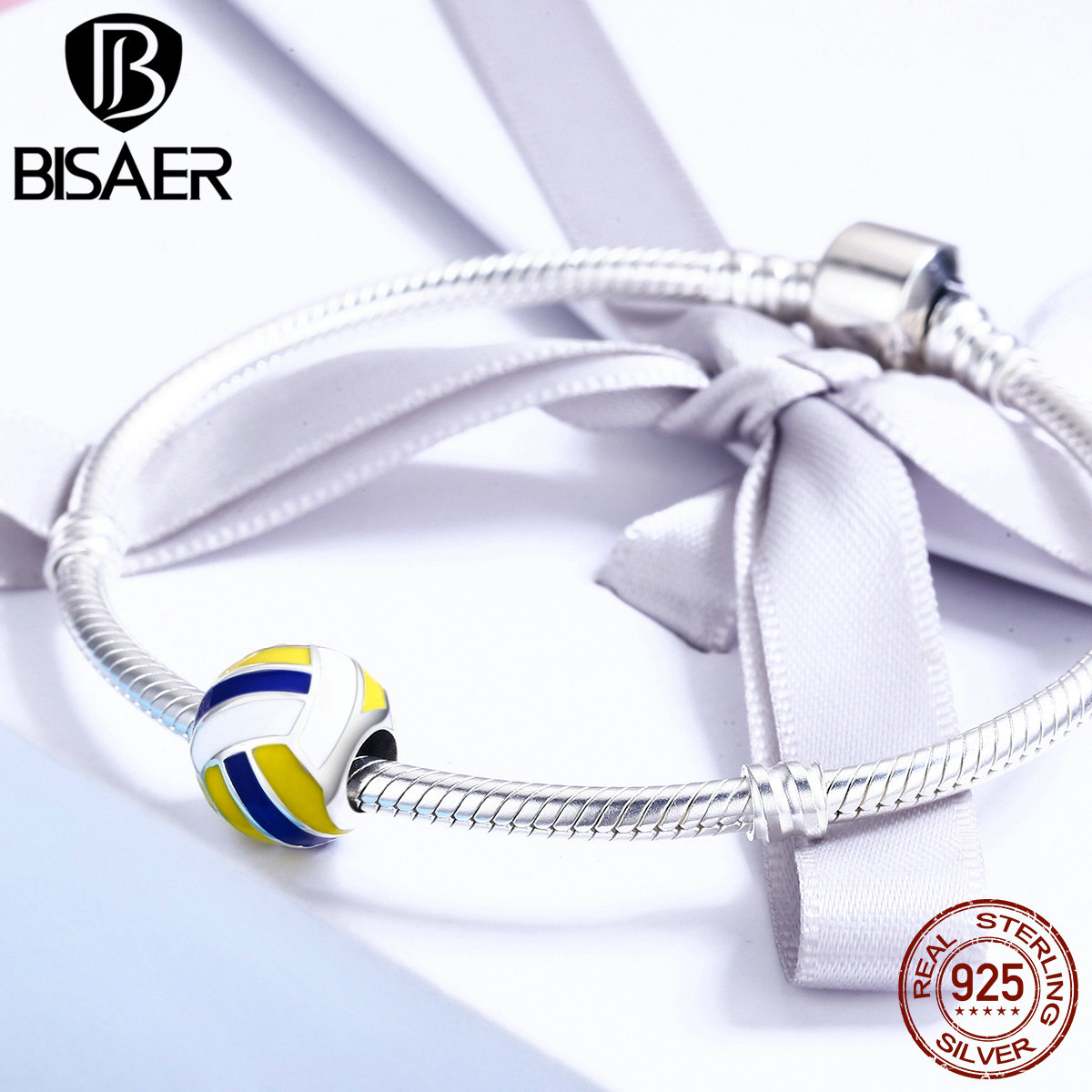 100% 925 Sterling Silver I Love Sports, Volleyball Round Beads Fit Women Bracelet Charms Silver 925 Original Fine Jewelry