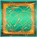 90 см * 90 см Европейский Стиль H Металлической Цепью и Кнутом Пояса Печатных Фирменный стиль женщины шелкового атласа большой квадратный шарф