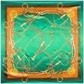 90 cm * 90 cm H Estilo Europeu Cadeia e Cinto de Metal Chicote Marca Impressa cetim de seda estilo mulheres grande lenço quadrado
