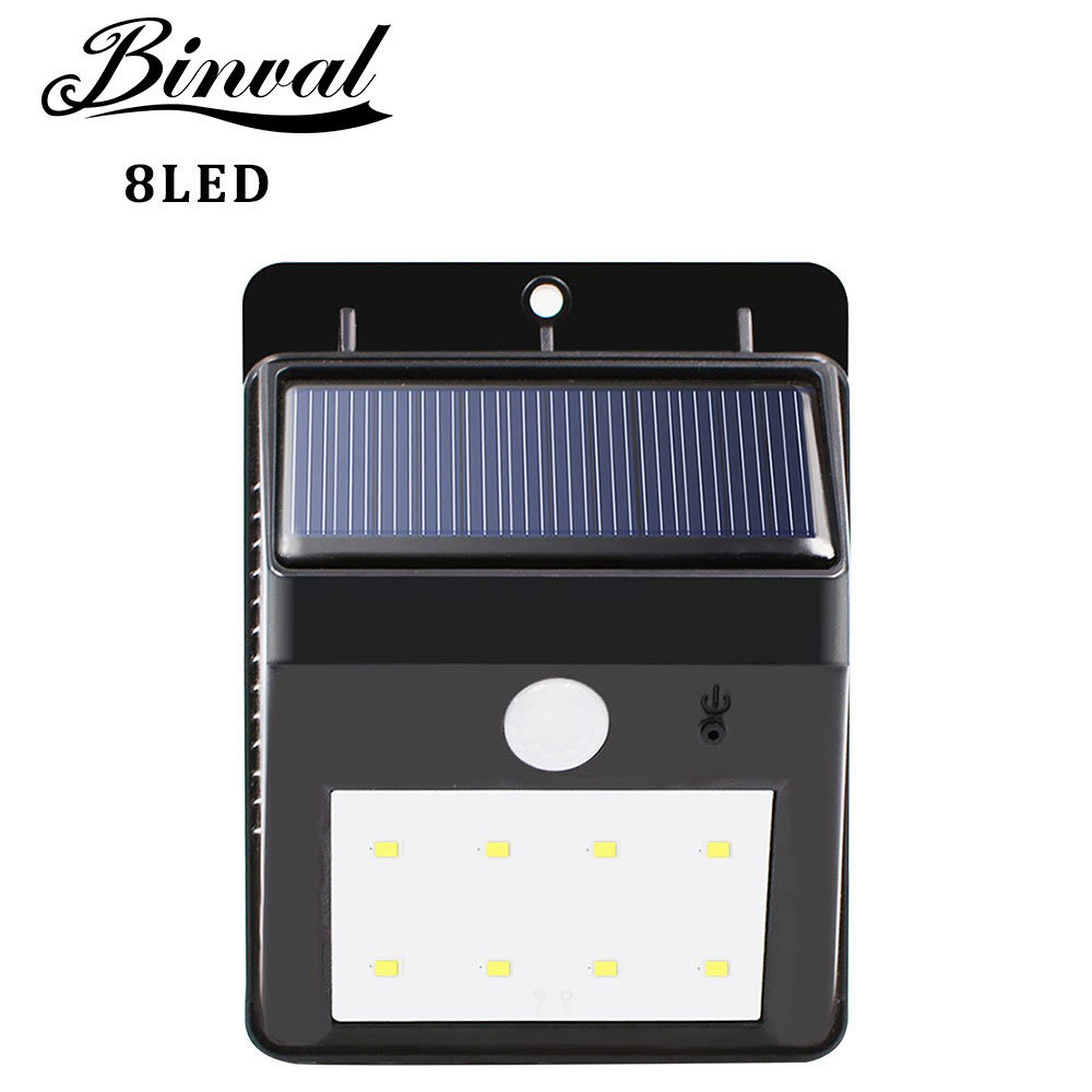 Luces solares Binval Super brillante 8 LED impermeable Sensor de movimiento luz de seguridad diseño desmontable luz de pared para terraza Patio