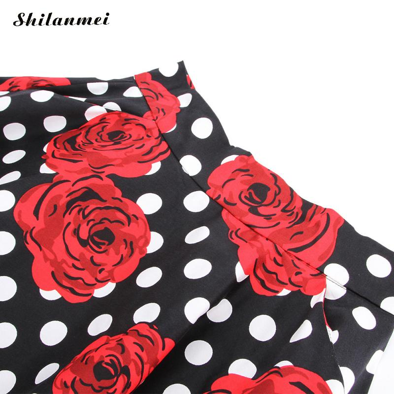 Imprimir Mujer Polka Tamaño Vintage Falda Medias Alta 2018 Red Flor Señoras Faldas Elegante Saia Delgado Dot Rose Cintura Verano Más nxFHFrX