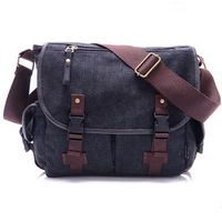New High Quality Canvas Bag Male Solid Cover Zipper Casual Shoulder School Bags Men Crossbody Bag