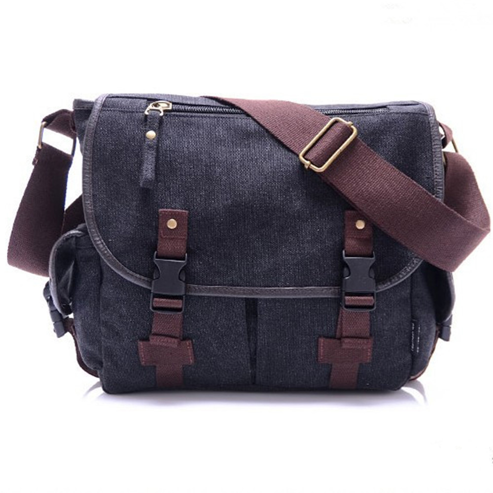 New  High Quality Canvas Bag Male Solid Cover Zipper Casual Shoulder School Bags Men Crossbody Bag Men's Messenger Bags HQB2014