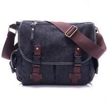 402071f4b82c New High Quality Canvas Bag Male Solid Cover Zipper Casual Shoulder School Bags  Men Crossbody Bag Men s Messenger Bags HQB2014