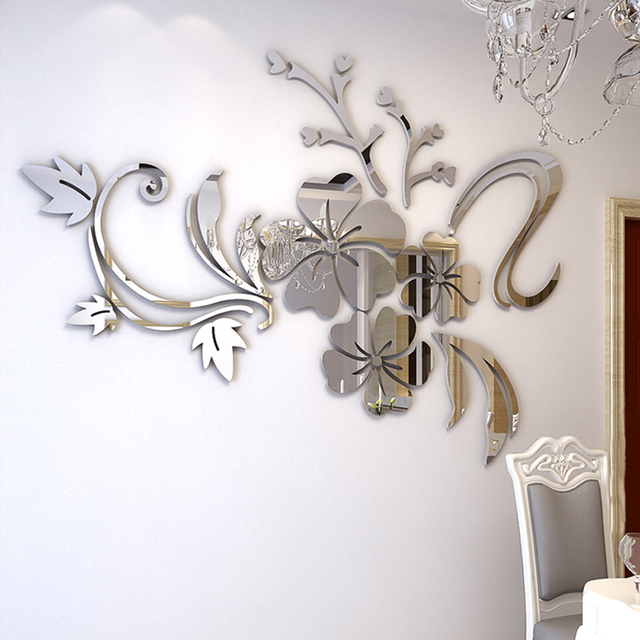 Popolare Romantico Fiore Acrilico Specchio Autoadesivo Della Parete per  GP31