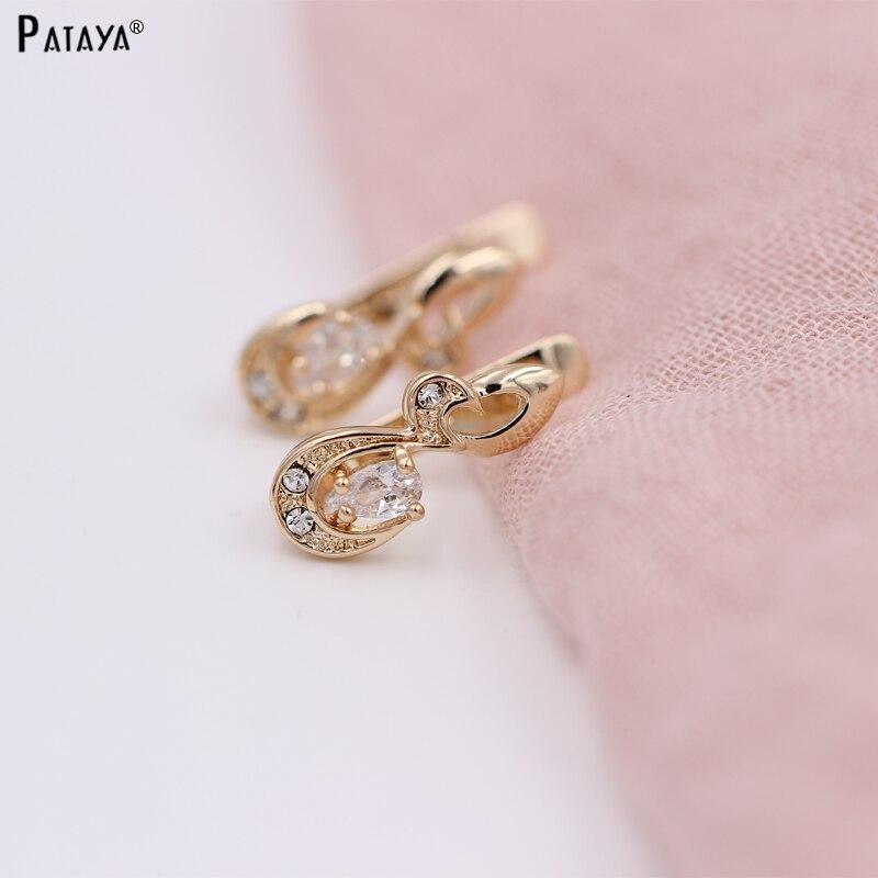 PATAYA Women New White Zircon Earrings Girls Small Irregular Drop Earrings 585 Rose Gold Pated Jewelry